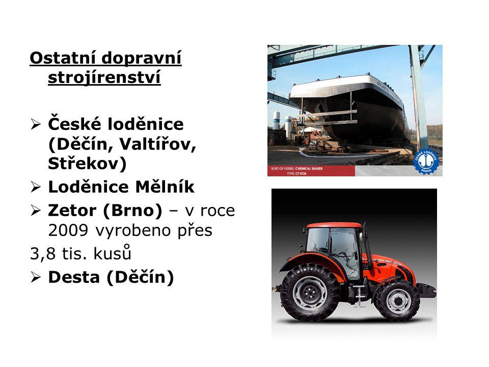 Ostatní dopravní strojírenství  České loděnice (Děčín, Valtířov, Střekov)  Loděnice Mělník  Zetor (Brno) – v roce 2009 vyrobeno přes 3,8 tis. kusů