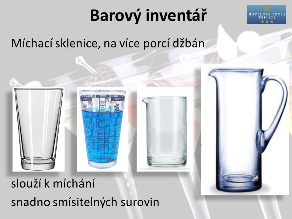Barový inventář Míchací sklenice, na více porcí džbán slouží k míchání snadno smísitelných surovin