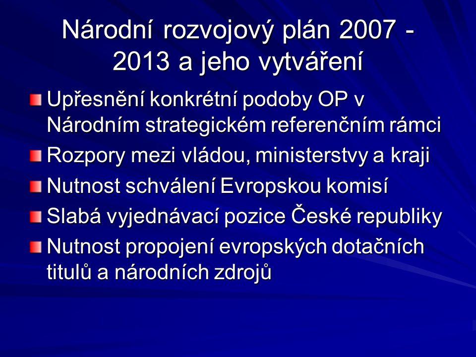 Národní rozvojový plán 2007 - 2013 a jeho vytváření Upřesnění konkrétní podoby OP v Národním strategickém referenčním rámci Rozpory mezi vládou, minis