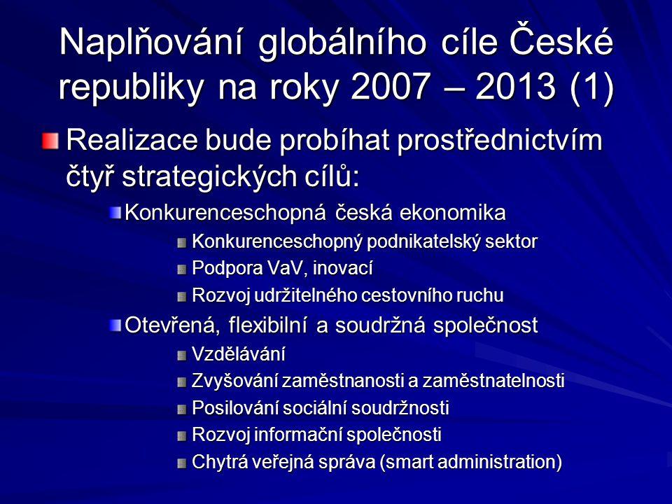 Naplňování globálního cíle České republiky na roky 2007 – 2013 (1) Realizace bude probíhat prostřednictvím čtyř strategických cílů: Konkurenceschopná