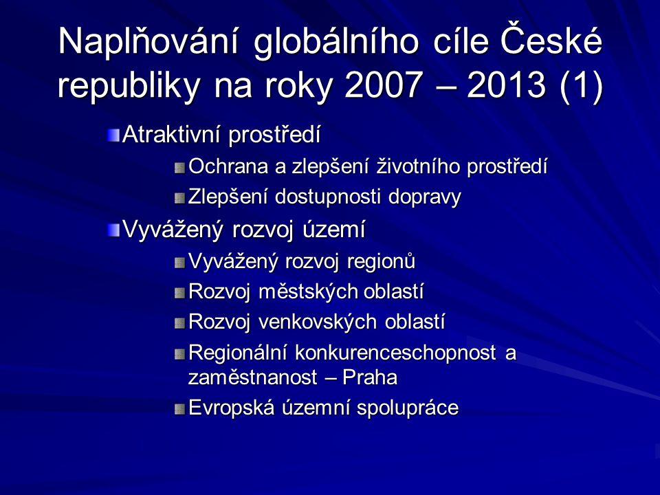 Naplňování globálního cíle České republiky na roky 2007 – 2013 (1) Atraktivní prostředí Ochrana a zlepšení životního prostředí Zlepšení dostupnosti do