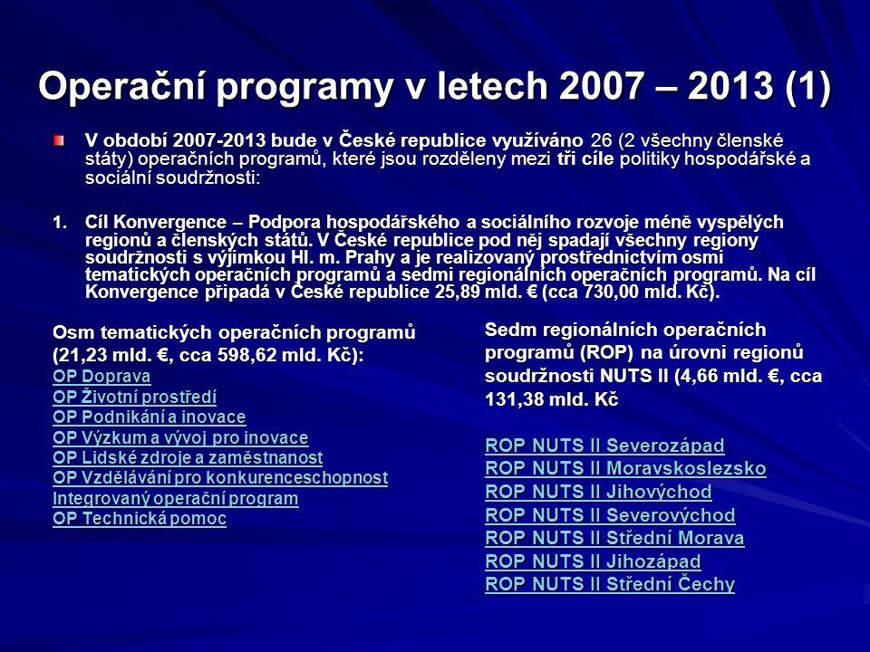 Operační programy v letech 2007 – 2013 (1) V období 2007-2013 bude v České republice využíváno 26 (2 všechny členské státy) operačních programů, které jsou rozděleny mezi tři cíle politiky hospodářské a sociální soudržnosti: 1.
