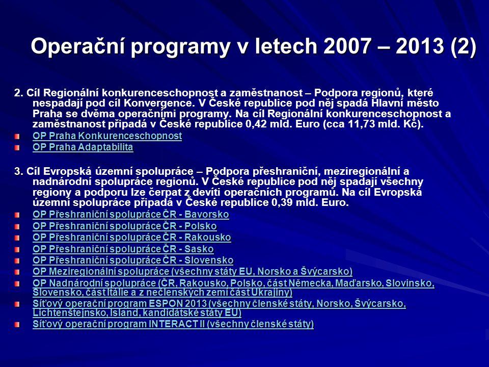Operační programy v letech 2007 – 2013 (2) 2.