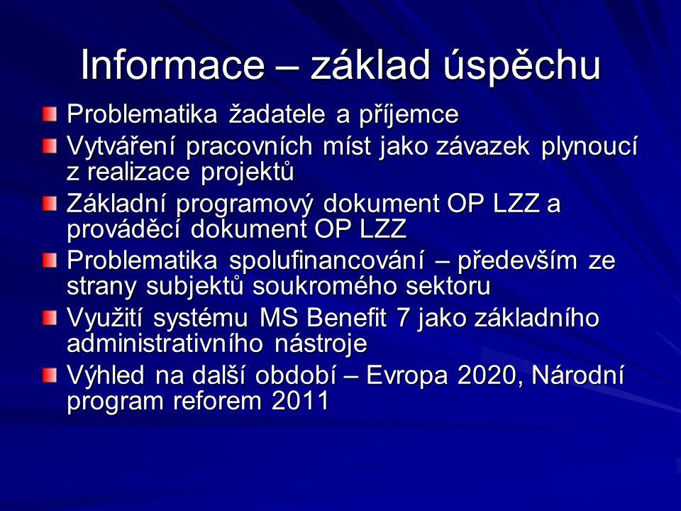 Informace – základ úspěchu Problematika žadatele a příjemce Vytváření pracovních míst jako závazek plynoucí z realizace projektů Základní programový dokument OP LZZ a prováděcí dokument OP LZZ Problematika spolufinancování – především ze strany subjektů soukromého sektoru Využití systému MS Benefit 7 jako základního administrativního nástroje Výhled na další období – Evropa 2020, Národní program reforem 2011