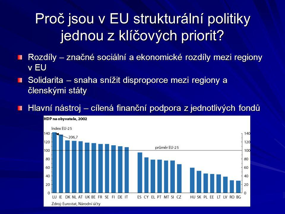 Proč jsou v EU strukturální politiky jednou z klíčových priorit? Rozdíly – značné sociální a ekonomické rozdíly mezi regiony v EU Solidarita – snaha s