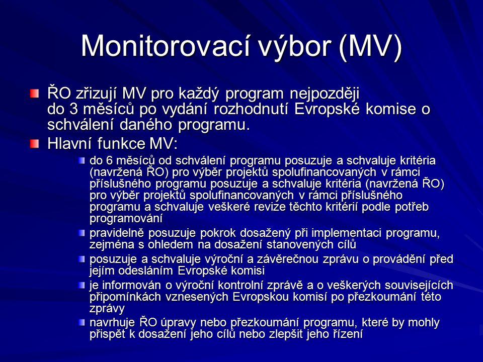 Monitorovací výbor (MV) ŘO zřizují MV pro každý program nejpozději do 3 měsíců po vydání rozhodnutí Evropské komise o schválení daného programu.
