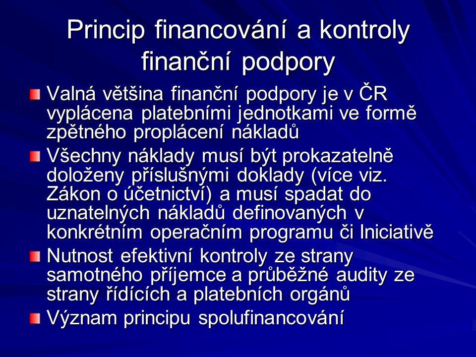 Princip financování a kontroly finanční podpory Valná většina finanční podpory je v ČR vyplácena platebními jednotkami ve formě zpětného proplácení nákladů Všechny náklady musí být prokazatelně doloženy příslušnými doklady (více viz.