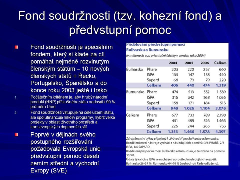 Fond soudržnosti (tzv. kohezní fond) a předvstupní pomoc Fond soudržnosti je speciálním fondem, který si klade za cíl pomáhat nejméně rozvinutým člens
