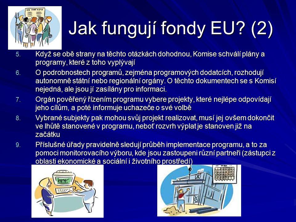 Jak fungují fondy EU? (2) Jak fungují fondy EU? (2) 5. Když se obě strany na těchto otázkách dohodnou, Komise schválí plány a programy, které z toho v