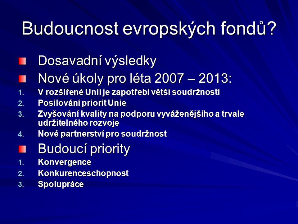 Budoucnost evropských fondů? Dosavadní výsledky Nové úkoly pro léta 2007 – 2013: 1. V rozšířené Unii je zapotřebí větší soudržnosti 2. Posilování prio