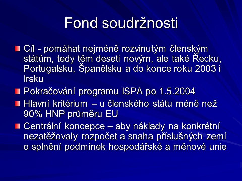 Fond soudržnosti Cíl - pomáhat nejméně rozvinutým členským státům, tedy těm deseti novým, ale také Řecku, Portugalsku, Španělsku a do konce roku 2003
