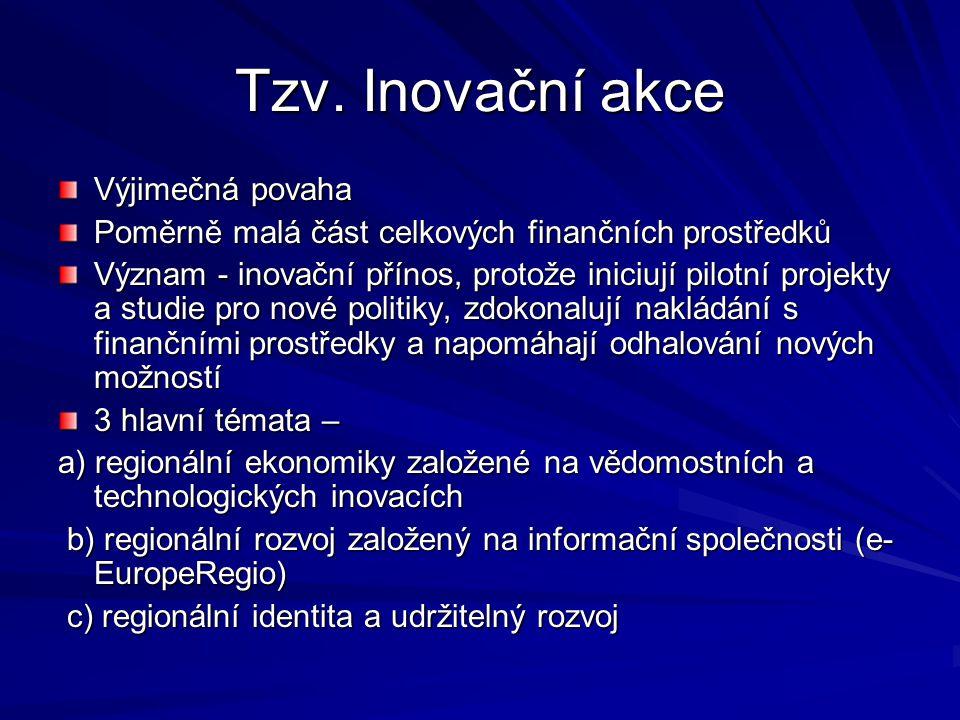 Tzv. Inovační akce Výjimečná povaha Poměrně malá část celkových finančních prostředků Význam - inovační přínos, protože iniciují pilotní projekty a st