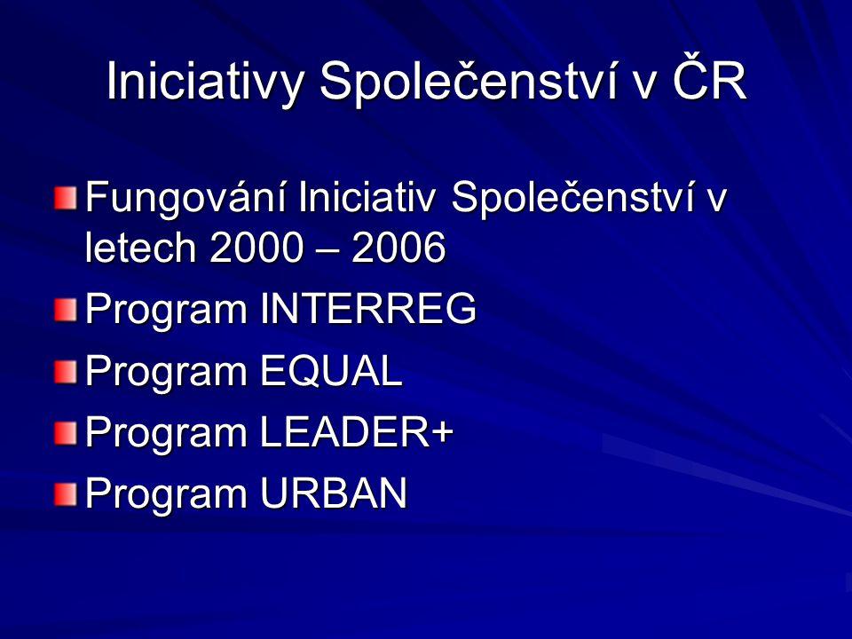 Iniciativy Společenství v ČR Fungování Iniciativ Společenství v letech 2000 – 2006 Program INTERREG Program EQUAL Program LEADER+ Program URBAN