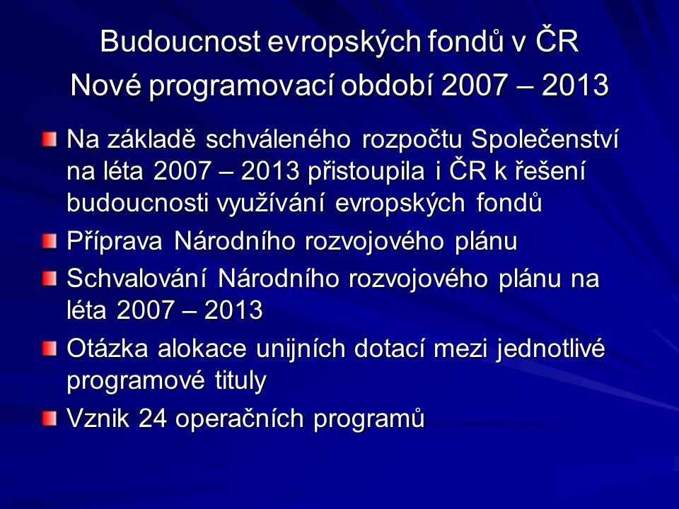 Budoucnost evropských fondů v ČR Nové programovací období 2007 – 2013 Na základě schváleného rozpočtu Společenství na léta 2007 – 2013 přistoupila i Č