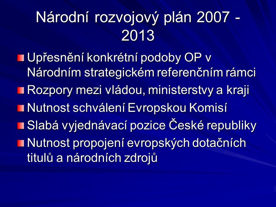 Národní rozvojový plán 2007 - 2013 Upřesnění konkrétní podoby OP v Národním strategickém referenčním rámci Rozpory mezi vládou, ministerstvy a kraji N