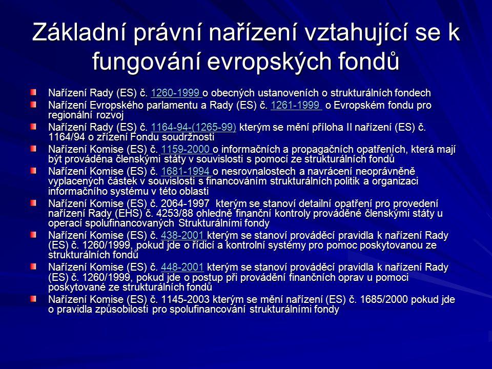 Strukturální fondy & Iniciativy Společenství Evropský fond regionálního rozvoje - ERDF Evropský sociální fond – ESF Evropský orientační a záruční fond pro zemědělství – EAGGF Finanční nástroj na podporu rybolovu – FIFG Iniciativy – INTERREG III., URBAN II, LEADER +, EQUAL Cíl 1 Podpora mimo regiony cíle 1 Cíl 2 Cíl 3 I nterreg III Urban II Leader + Equal ERDF x x x x ESF x x x x EAGGF x x x FIFG x x