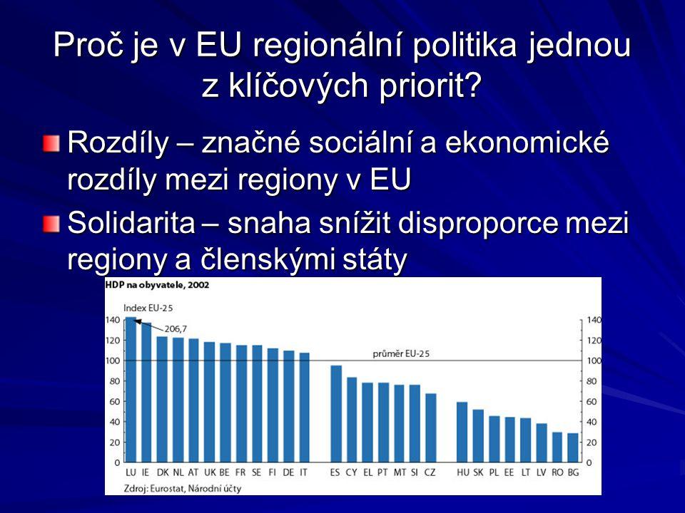 Programové cíle pro období 2000 – 2006 Cíl 1 - Podpora rozvoje zaostávajících regionů Cíl 1 - Podpora rozvoje zaostávajících regionů Regiony s HDP pod hranicí 75% průměru EU se mohou těšit podpoře udržitelného rozvoje zejména prostřednictvím investic do výroby Cíl 2 - Podpora oblastí potýkajících se s restrukturalizací Cíl 2 - Podpora oblastí potýkajících se s restrukturalizací Všechny oblasti, které nespadají pod Cíl 1, a které dlouhodobě vykazují vysokou míru nezaměstnanosti, kriminality, špatnou úroveň školství nebo životního prostředí Cíl 3 - Podpora politiky zaměstnanosti a vzdělání Cíl 3 - Podpora politiky zaměstnanosti a vzdělání Snížení nezaměstnanosti prostřednictvím rekvalifikace, vzdělávání a školení Strukturální fondy – ERDF, ESF, EAGGF, FIFG Rozpočet strukturálních fondů a iniciativ Společenství