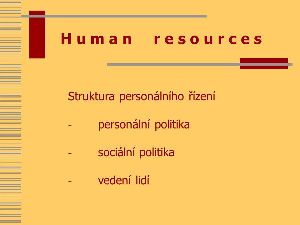 H u m a n r e s o u r c e s Struktura personálního řízení - personální politika - sociální politika - vedení lidí