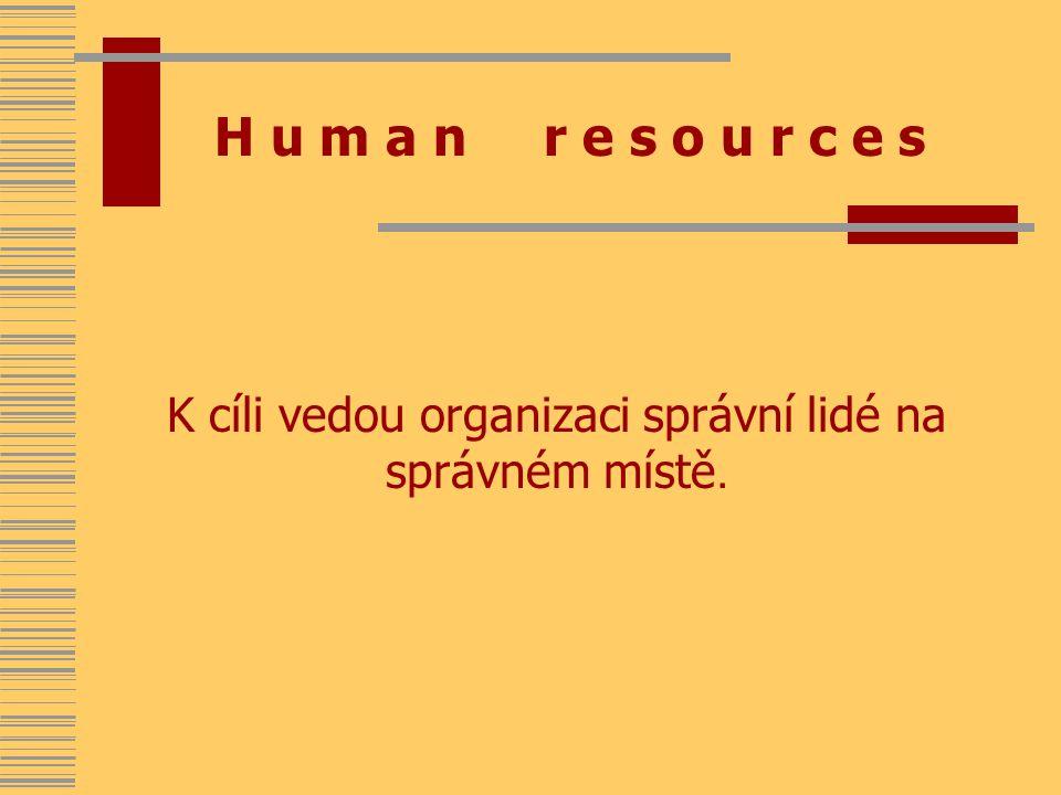 H u m a n r e s o u r c e s K cíli vedou organizaci správní lidé na správném místě.