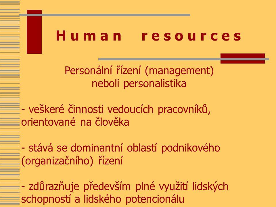 H u m a n r e s o u r c e s Personální řízení (management) neboli personalistika - veškeré činnosti vedoucích pracovníků, orientované na člověka - stává se dominantní oblastí podnikového (organizačního) řízení - zdůrazňuje především plné využití lidských schopností a lidského potencionálu