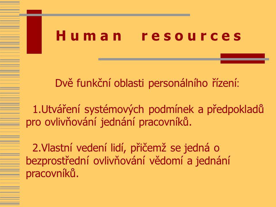 H u m a n r e s o u r c e s Dvě funkční oblasti personálního řízení : 1.Utváření systémových podmínek a předpokladů pro ovlivňování jednání pracovníků