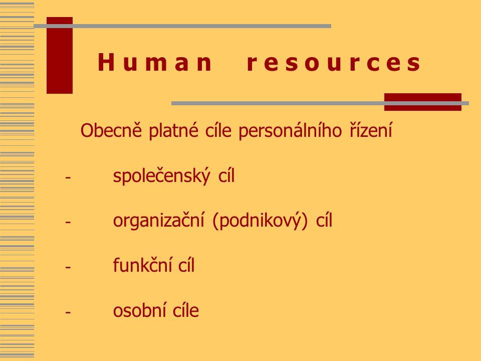 H u m a n r e s o u r c e s Obecně platné cíle personálního řízení - společenský cíl - organizační (podnikový) cíl - funkční cíl - osobní cíle