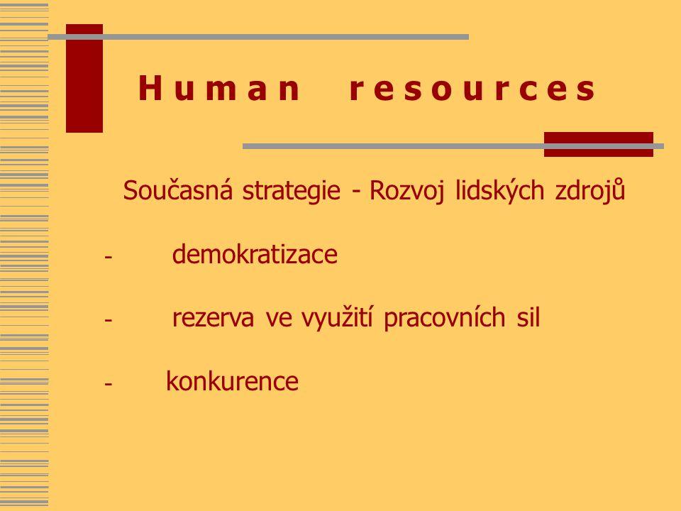 H u m a n r e s o u r c e s Současná strategie - Rozvoj lidských zdrojů - demokratizace - rezerva ve využití pracovních sil - konkurence