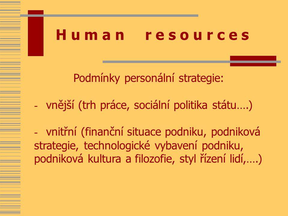 H u m a n r e s o u r c e s Podmínky personální strategie: - vnější (trh práce, sociální politika státu….) - vnitřní (finanční situace podniku, podniková strategie, technologické vybavení podniku, podniková kultura a filozofie, styl řízení lidí,….)