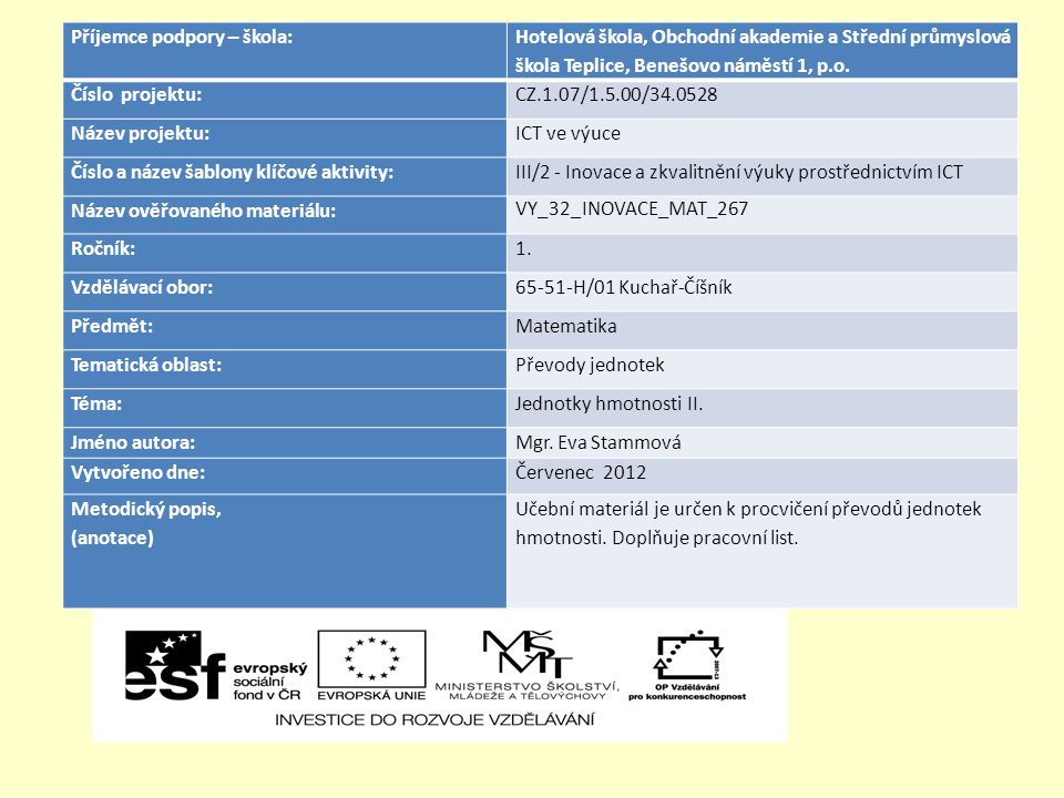 Příjemce podpory – škola: Hotelová škola, Obchodní akademie a Střední průmyslová škola Teplice, Benešovo náměstí 1, p.o.