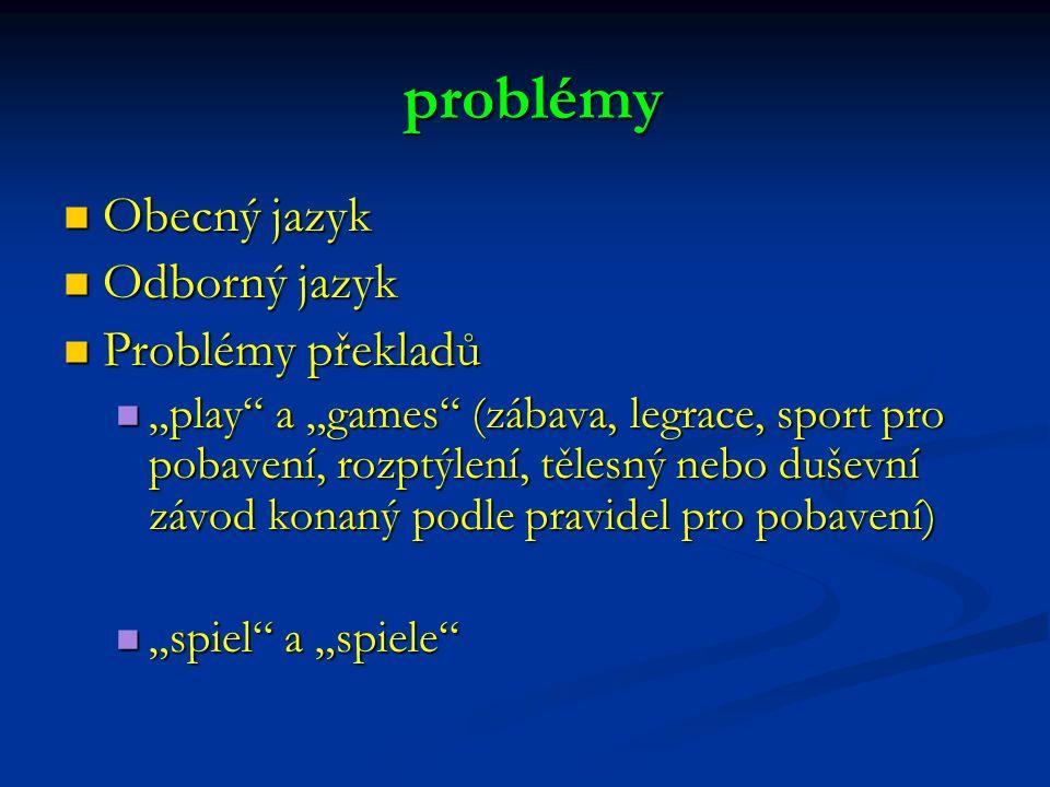 """Obecný jazyk Obecný jazyk Odborný jazyk Odborný jazyk Problémy překladů Problémy překladů """"play a """"games (zábava, legrace, sport pro pobavení, rozptýlení, tělesný nebo duševní závod konaný podle pravidel pro pobavení) """"play a """"games (zábava, legrace, sport pro pobavení, rozptýlení, tělesný nebo duševní závod konaný podle pravidel pro pobavení) """"spiel a """"spiele """"spiel a """"spiele problémy problémy"""