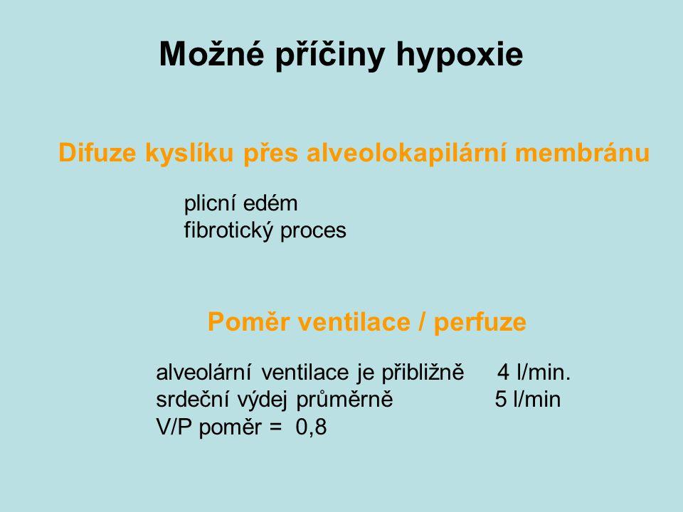 Možné příčiny hypoxie Difuze kyslíku přes alveolokapilární membránu plicní edém fibrotický proces Poměr ventilace / perfuze alveolární ventilace je přibližně 4 l/min.