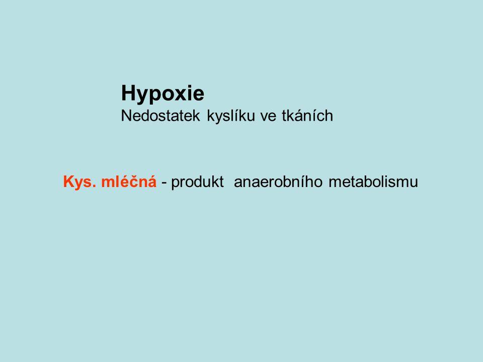 Hypoxie Nedostatek kyslíku ve tkáních Kys. mléčná - produkt anaerobního metabolismu