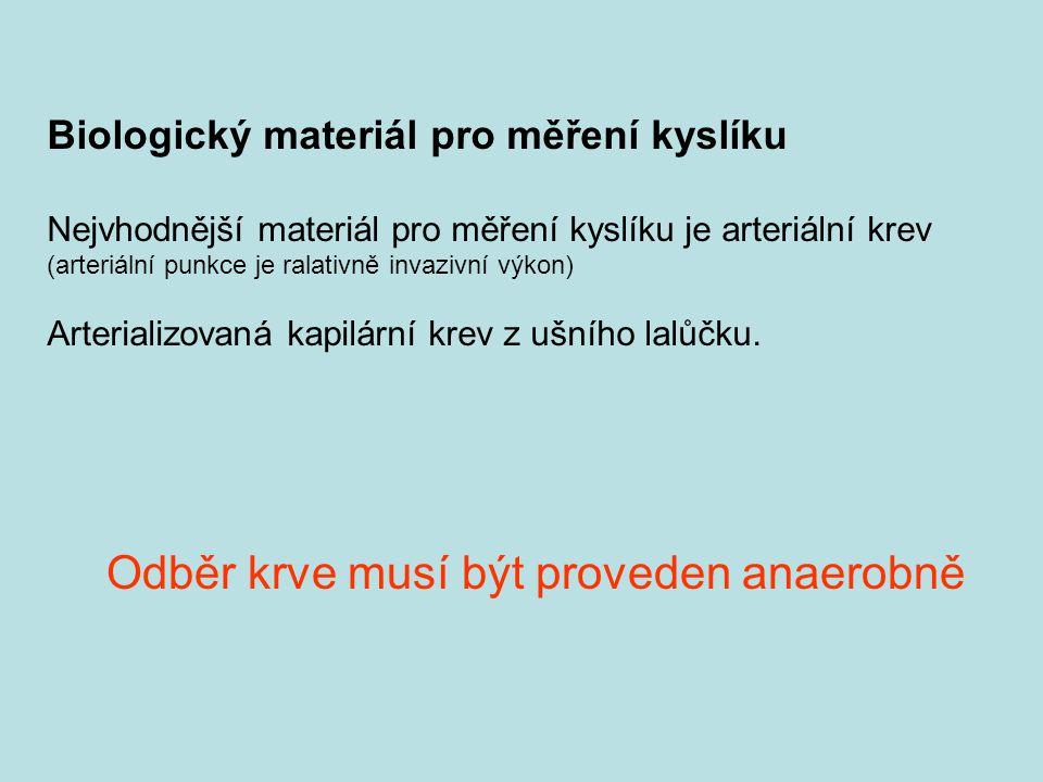 Biologický materiál pro měření kyslíku Nejvhodnější materiál pro měření kyslíku je arteriální krev (arteriální punkce je ralativně invazivní výkon) Ar