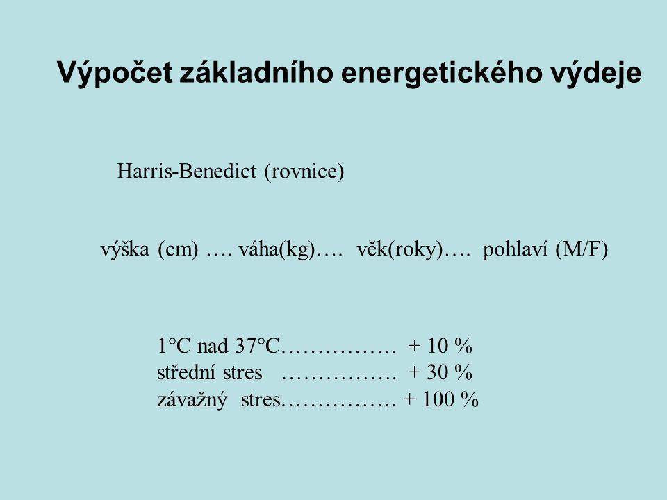 Výpočet základního energetického výdeje Harris-Benedict (rovnice) výška (cm) …. váha(kg)…. věk(roky)…. pohlaví (M/F) 1°C nad 37°C……………. + 10 % střední