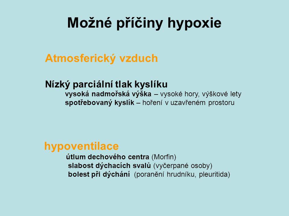Možné příčiny hypoxie Atmosferický vzduch Nízký parciální tlak kyslíku vysoká nadmořská výška – vysoké hory, výškové lety spotřebovaný kyslík – hoření