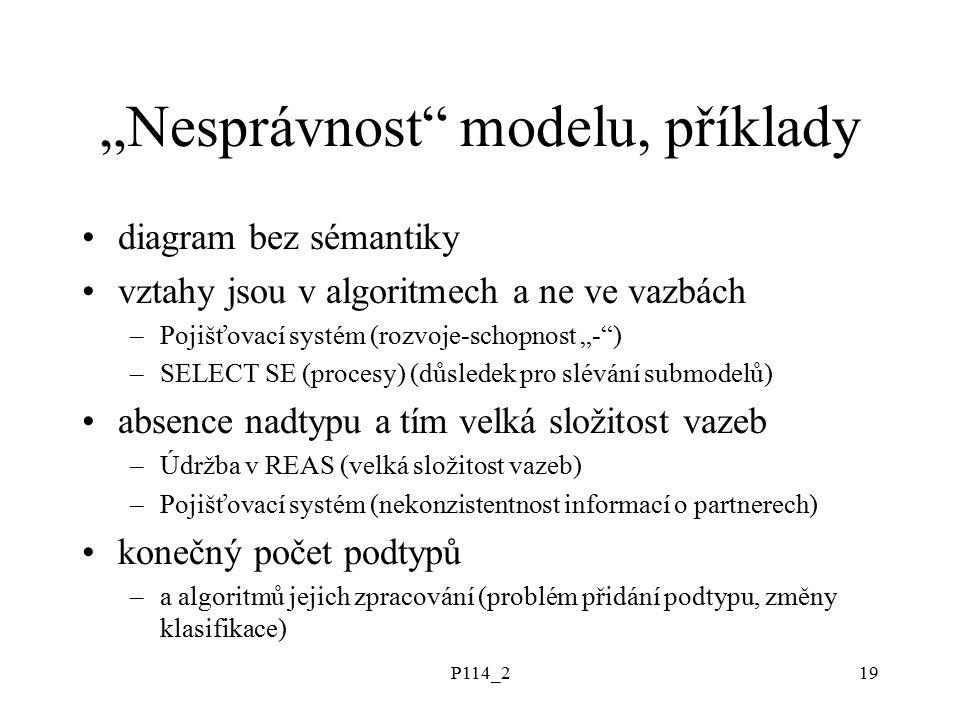 """P114_220 """"Správný model, příklady co je to """"správný model –pozor na """"reálný svět vs """"svět představ –adekvátnost požadavkům (i nevyjádřeným) –úloha analytika - """"datového modeláře –text může být blábol ze špatně utvořených vět –model může být špatně konstruován z nedobře definovaných konstruktů """"správný model: –IS Bílý Motýl –transakční systém EXPANDIA Banky"""