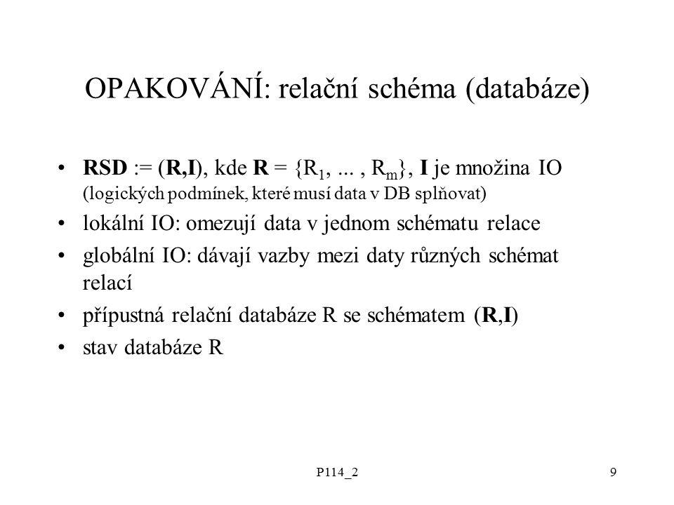 P114_29 OPAKOVÁNÍ: relační schéma (databáze) RSD := (R,I), kde R = {R 1,..., R m }, I je množina IO (logických podmínek, které musí data v DB splňovat) lokální IO: omezují data v jednom schématu relace globální IO: dávají vazby mezi daty různých schémat relací přípustná relační databáze R se schématem (R,I) stav databáze R