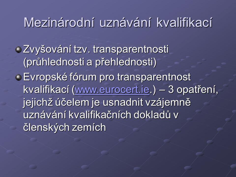 Mezinárodní uznávání kvalifikací Zvyšování tzv. transparentnosti (průhlednosti a přehlednosti) Evropské fórum pro transparentnost kvalifikací (www.eur