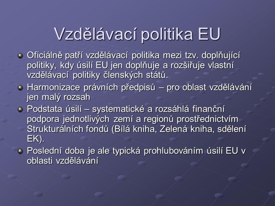 Vzdělávací politika EU Oficiálně patří vzdělávací politika mezi tzv. doplňující politiky, kdy úsilí EU jen doplňuje a rozšiřuje vlastní vzdělávací pol