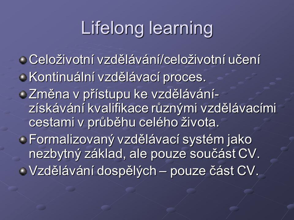 Lifelong learning Celoživotní vzdělávání/celoživotní učení Kontinuální vzdělávací proces. Změna v přístupu ke vzdělávání- získávání kvalifikace různým