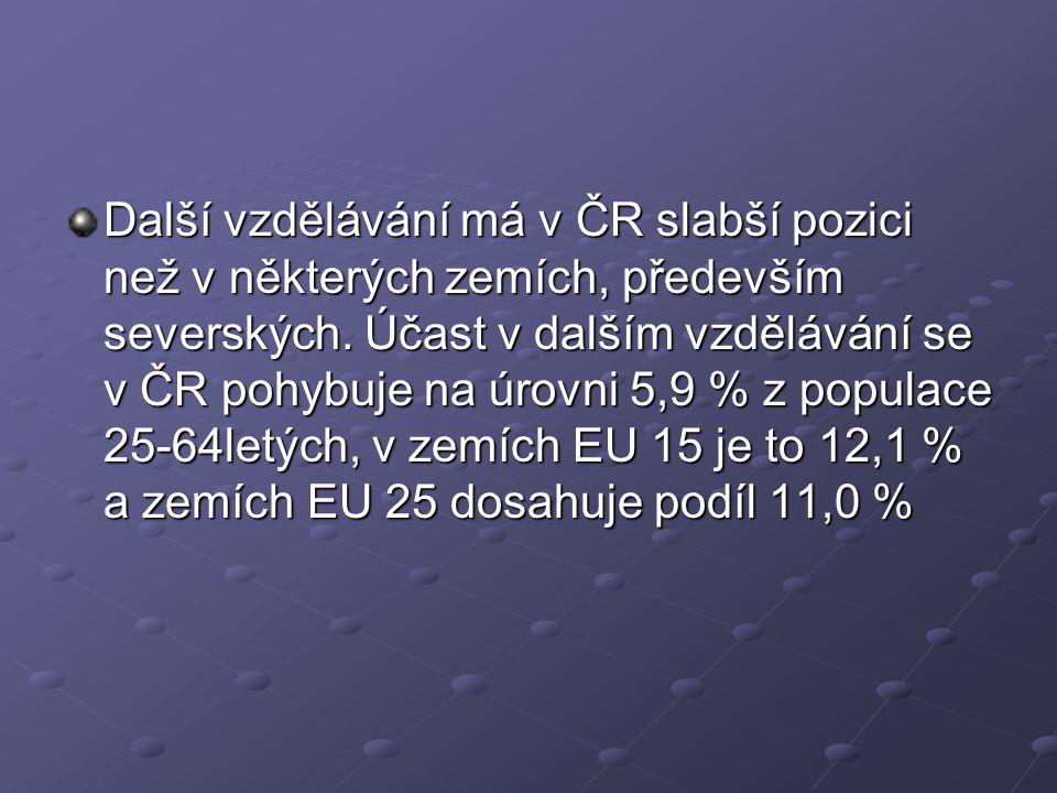 Další vzdělávání má v ČR slabší pozici než v některých zemích, především severských. Účast v dalším vzdělávání se v ČR pohybuje na úrovni 5,9 % z popu
