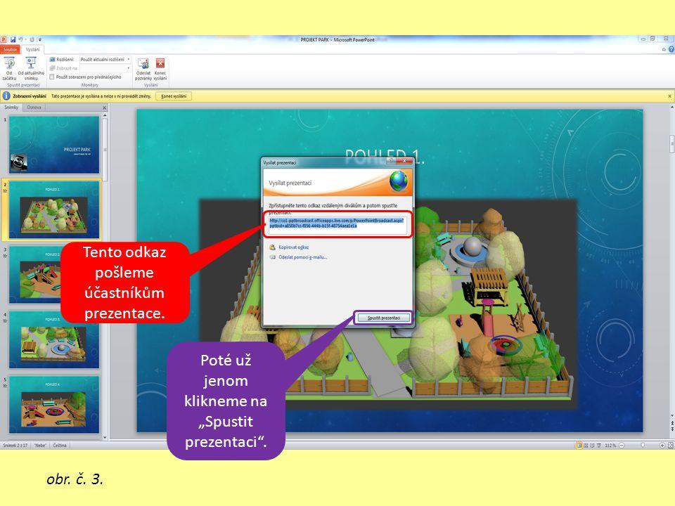 """Tento odkaz pošleme účastníkům prezentace. Poté už jenom klikneme na """"Spustit prezentaci ."""