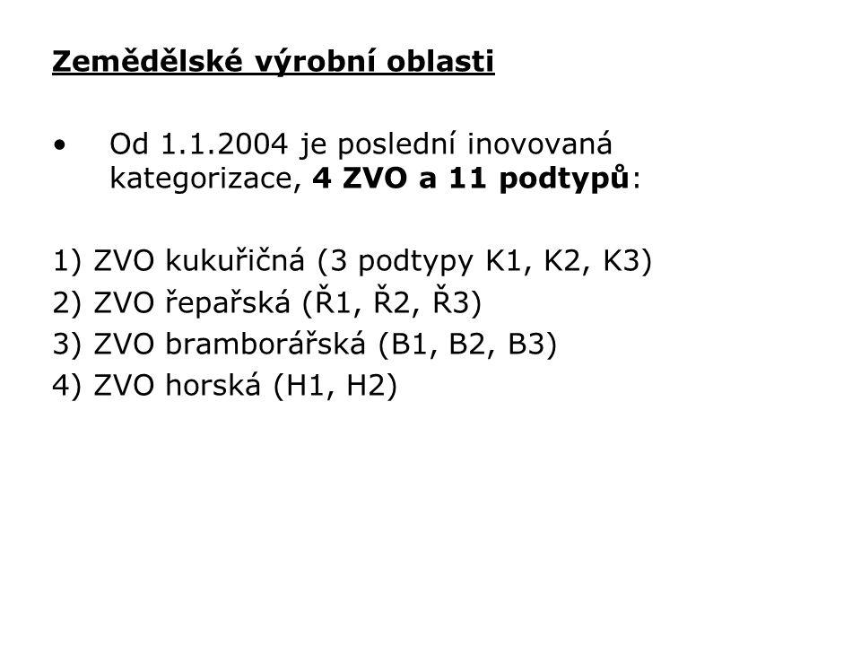 Zemědělské výrobní oblasti Od 1.1.2004 je poslední inovovaná kategorizace, 4 ZVO a 11 podtypů: 1) ZVO kukuřičná (3 podtypy K1, K2, K3) 2) ZVO řepařská