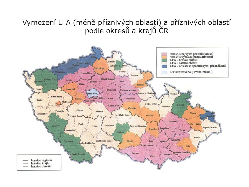 Vymezení LFA (méně příznivých oblastí) a příznivých oblastí podle okresů a krajů ČR