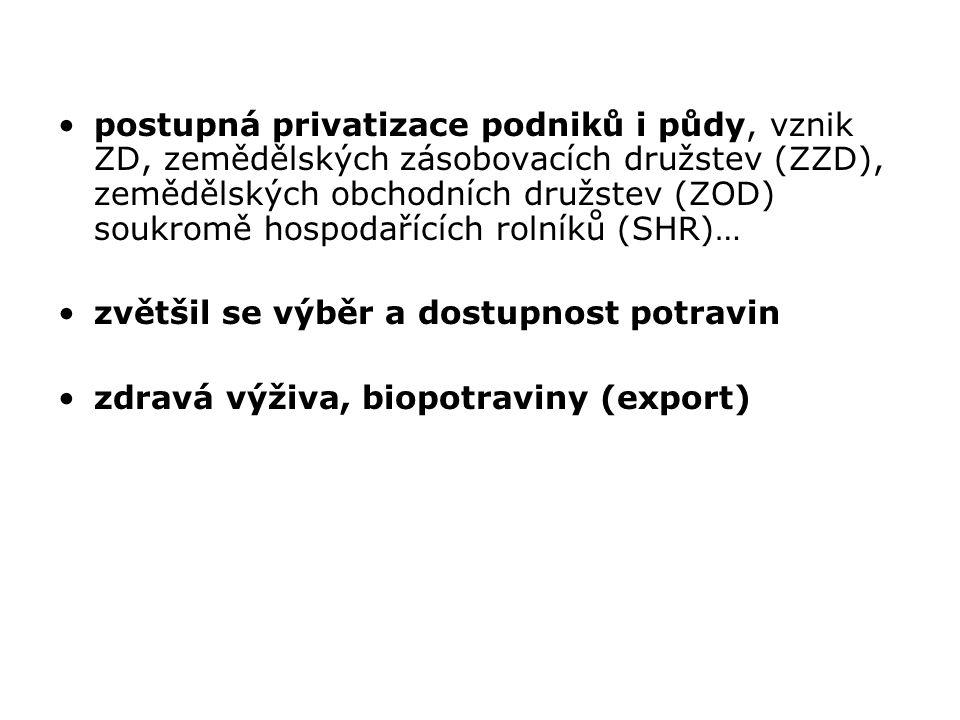 postupná privatizace podniků i půdy, vznik ZD, zemědělských zásobovacích družstev (ZZD), zemědělských obchodních družstev (ZOD) soukromě hospodařících