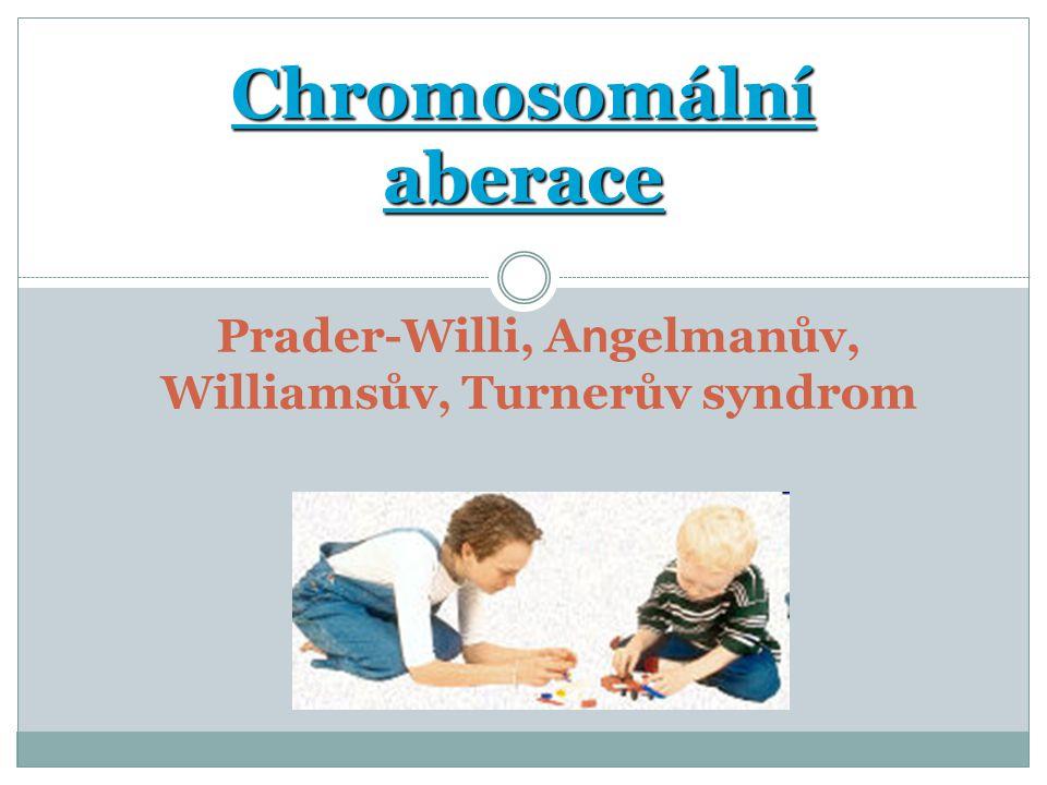 Chromosomální aberace Prader-Willi, A n gelmanův, Williamsův, Turnerův syndrom