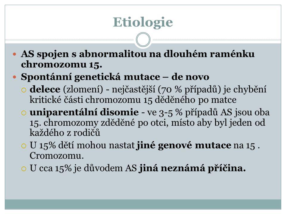 Etiologie AS spojen s abnormalitou na dlouhém raménku chromozomu 15. Spontánní genetická mutace – de novo  delece (zlomení) - nejčastější (70 % přípa