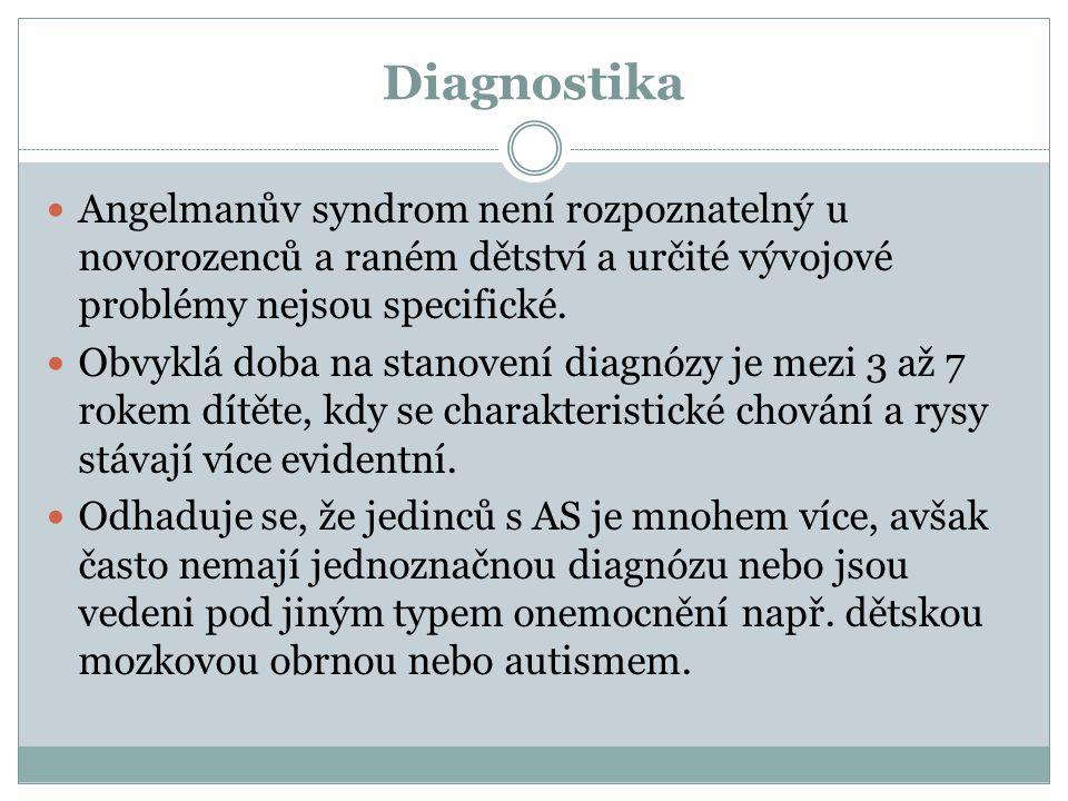 Diagnostika Angelmanův syndrom není rozpoznatelný u novorozenců a raném dětství a určité vývojové problémy nejsou specifické. Obvyklá doba na stanoven