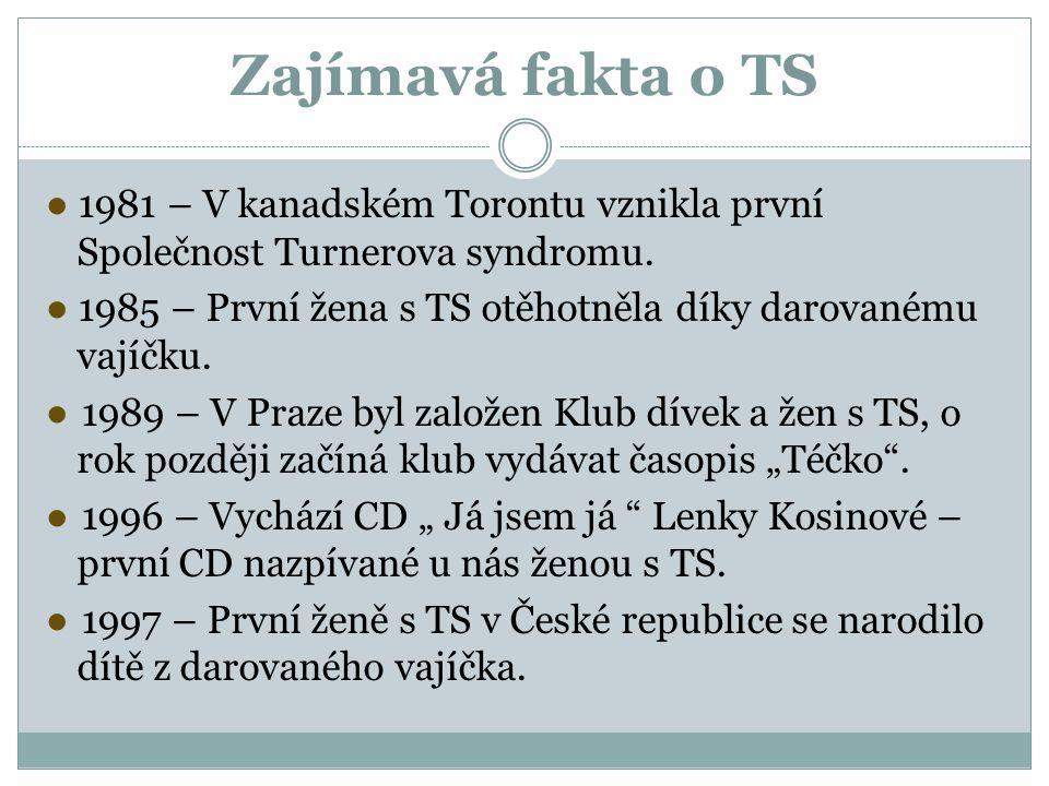 Zajímavá fakta o TS ● 1981 – V kanadském Torontu vznikla první Společnost Turnerova syndromu. ● 1985 – První žena s TS otěhotněla díky darovanému vají