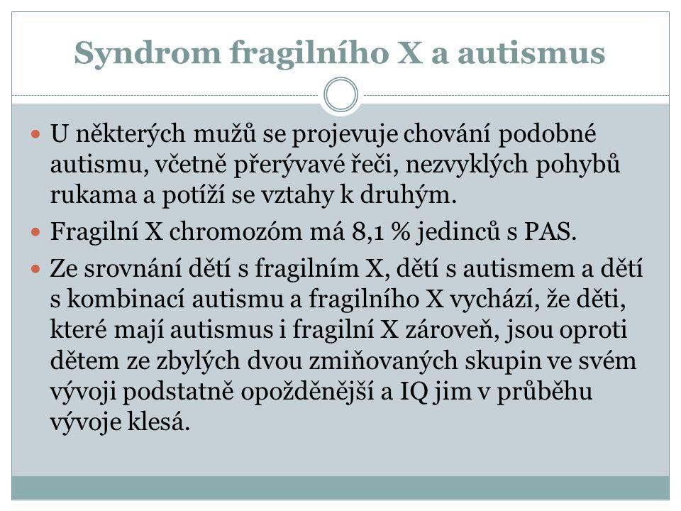 Syndrom fragilního X a autismus U některých mužů se projevuje chování podobné autismu, včetně přerývavé řeči, nezvyklých pohybů rukama a potíží se vzt